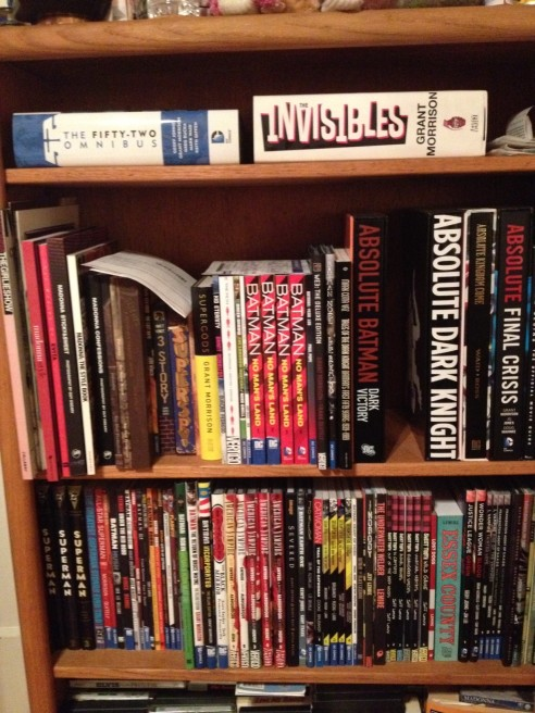 My personal shelf of omnibi, Absolute editions, deluxe editions, and regular editions of some of my favorite books