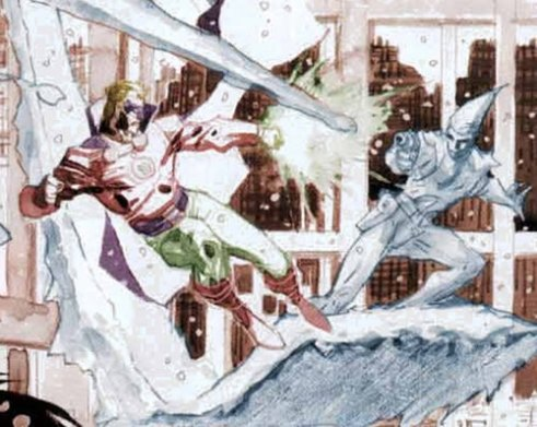 Alan Scott Green Lantern and Icicle duke it out over Metropolis in a flashback